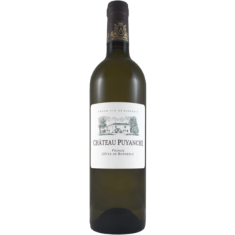 Bottle shot for 2018 Chateau Puyanche Francs Cotes De Bordeaux Blanc