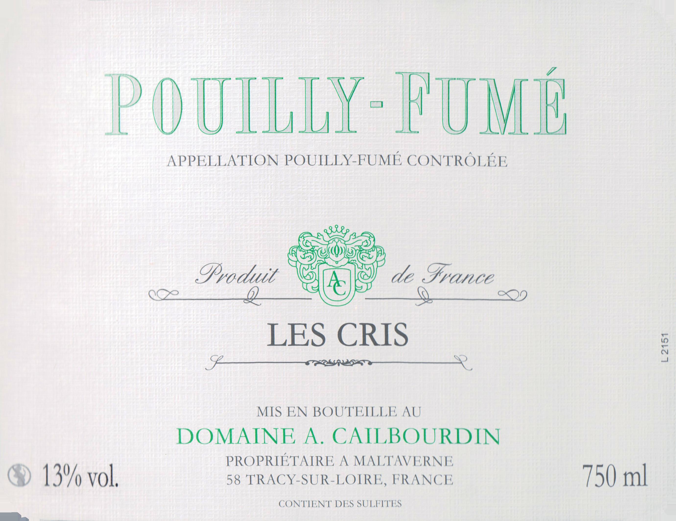 Cailbourdin Pouilly Fume Les Cris 2019