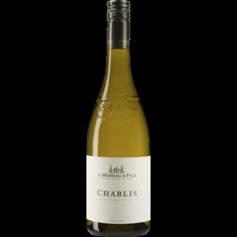 Bottle shot for 2018 J. Moreau Chablis