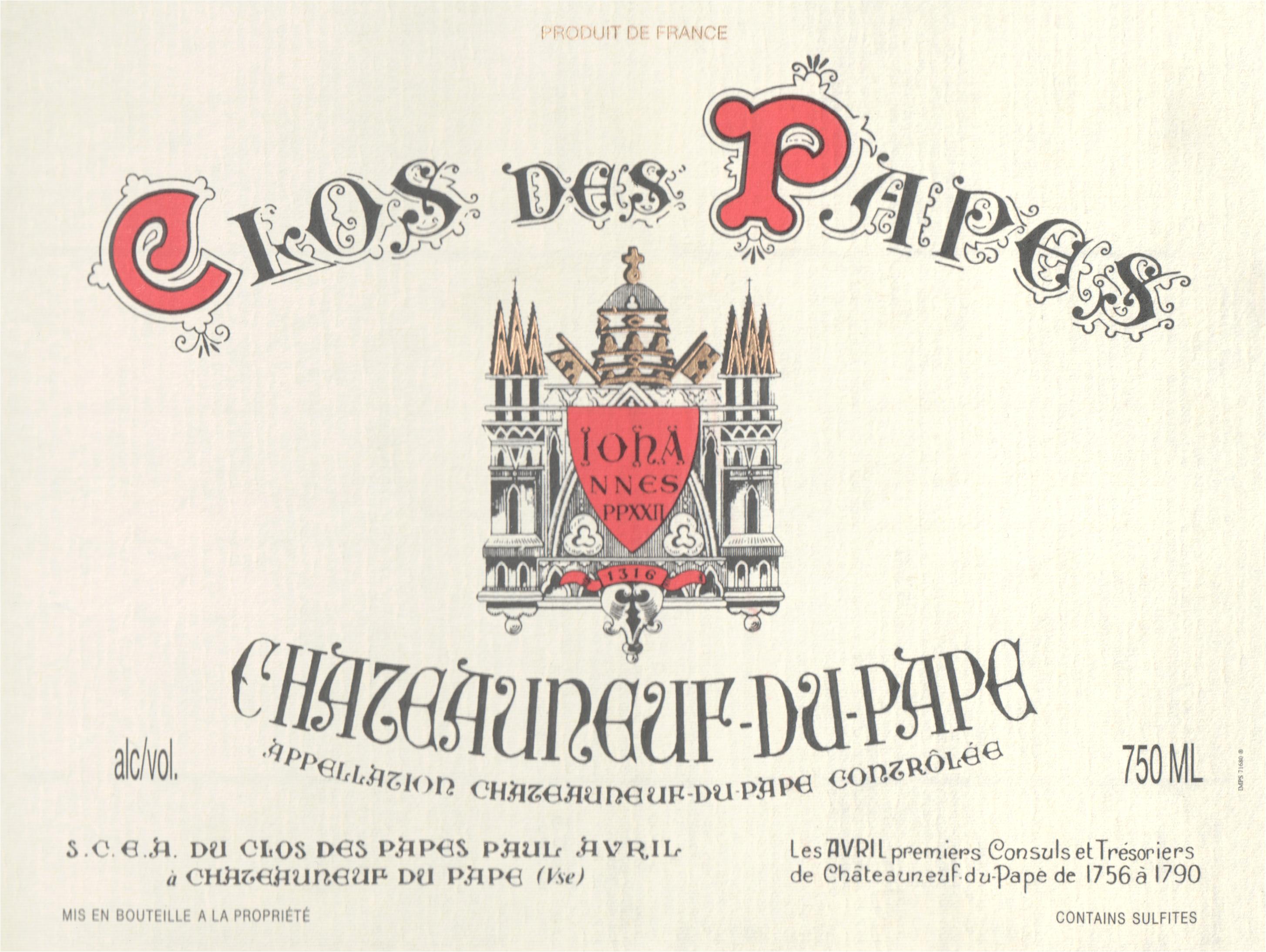 Clos Des Papes Chateauneuf Du Pape 2018