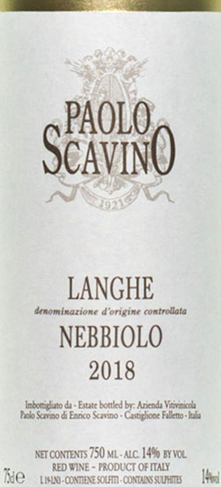 Paolo Scavino Nebbiolo Langhe 2018