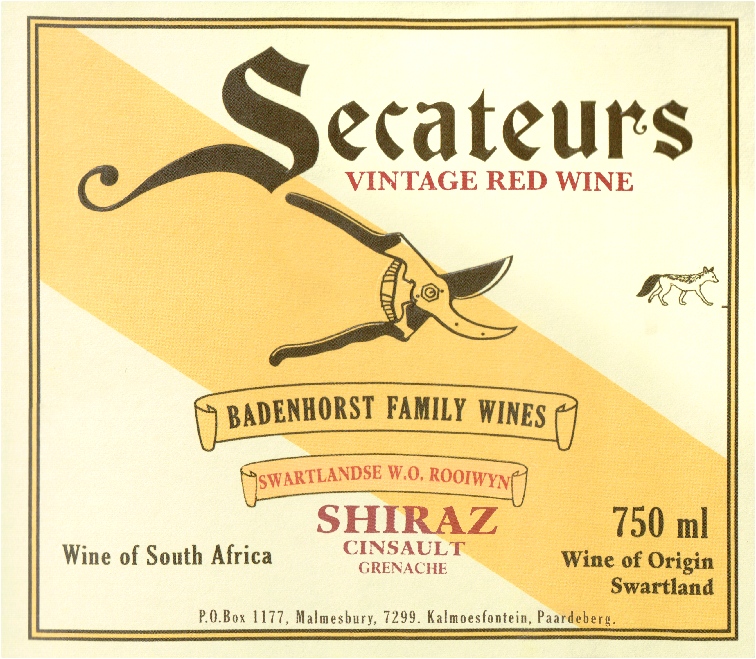 Badenhorst Red Blend Secateurs 2018