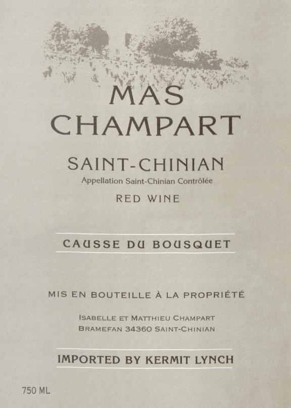 Mas Champart St Chinian Causse Du Bousquet Rouge 2015