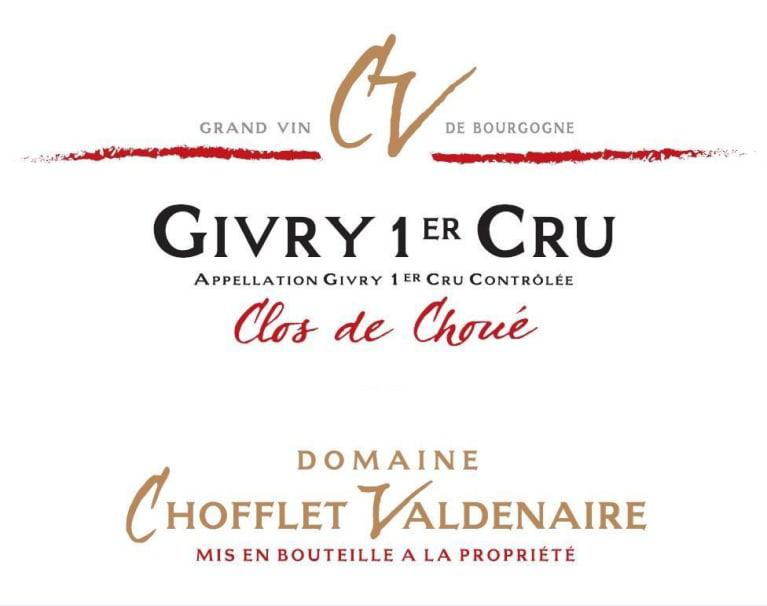 Chofflet Valdenaire Givry 1er Cru Clos Choue 2017