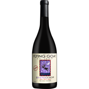 Bottle shot for 2014 Flying Goat Pinot Noir Rio Vista Vineyard Dijon Clone