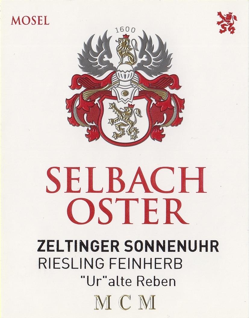 Selbach Oster Riesling Zeltinger Sonnenuhr Feinherb Ur Alte Reben 2019