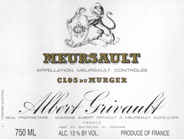 Albert Grivault Meursault Clos Du Murgers 2018