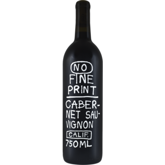 Bottle shot for 2018 No Fine Print Cabernet Sauvignon