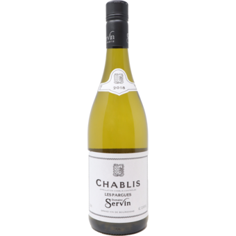 "Bottle shot for 2018 Domaine Servin Chablis ""Les Pargues"""