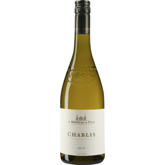 Bottle shot for 2019 J. Moreau Chablis