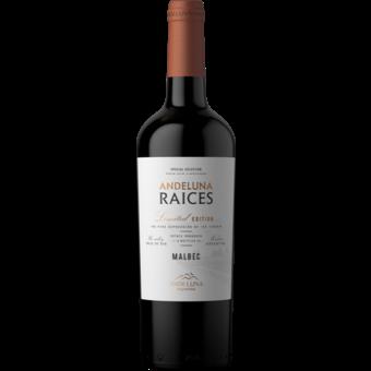 Bottle shot for 2020 Andeluna Cellars 'raices' Malbec