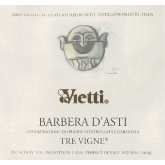 Label shot for 2019 Vietti Barbera D'asti Tre Vigne