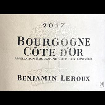 Label shot for 2017 Benjamin Leroux Bourgogne Cote D'or Pinot Noir