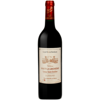 Bottle shot for 2016 Chateau Haut La Greniere Lussac St. Emilion