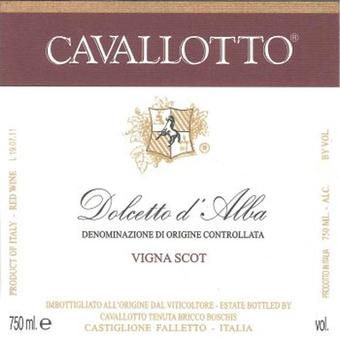 Label shot for 2019 Cavallotto Dolcetto D'alba Vigna Scot