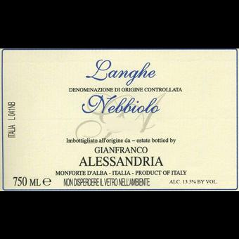 Label shot for 2018 Gianfranco Alessandria Langhe Nebbiolo