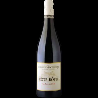 Bottle shot for 2013 Bonserine Cote Rotie La Sarrasine