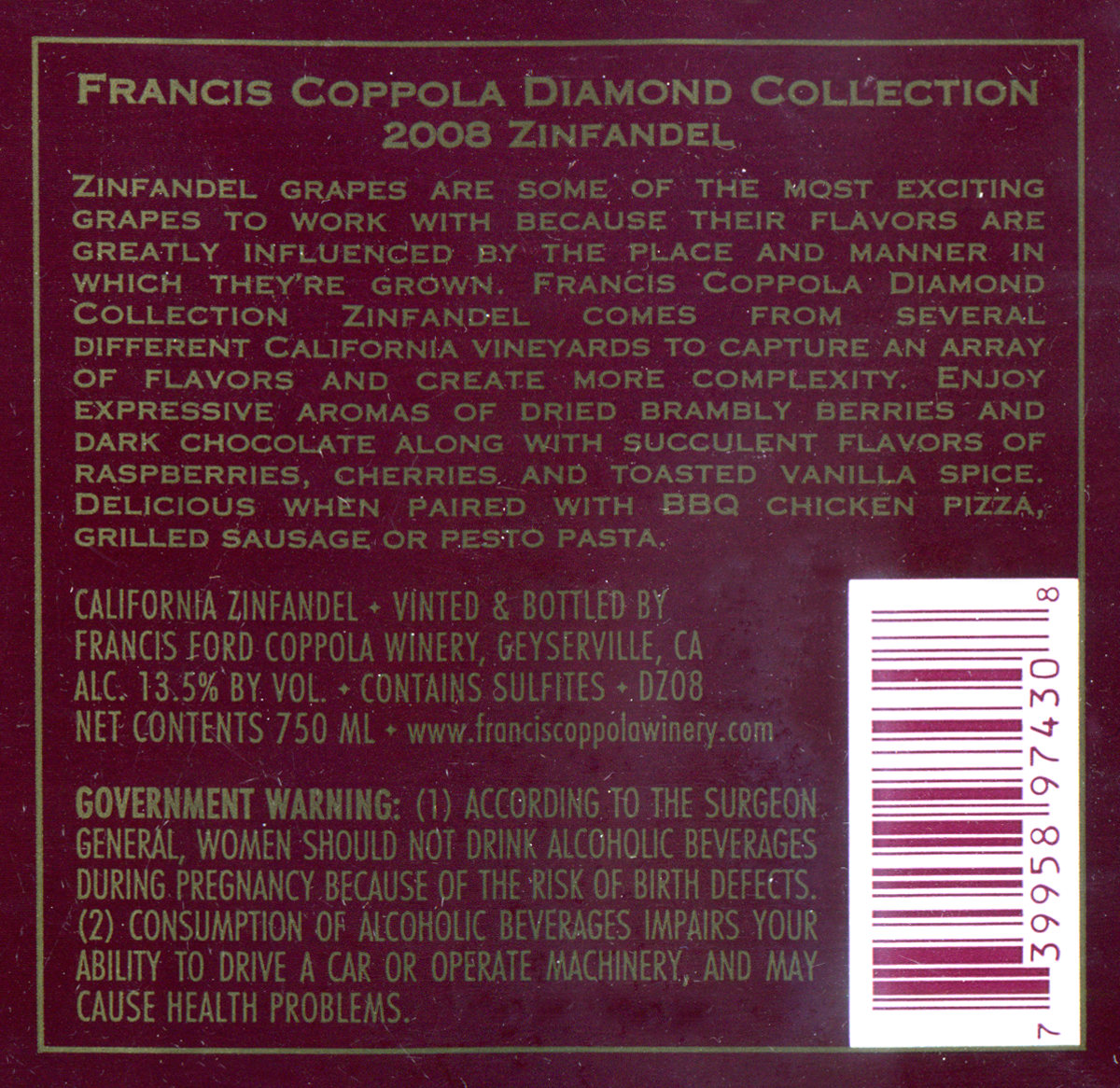 It's just an image of Ambitious Coppola Claret 2009 Black Label