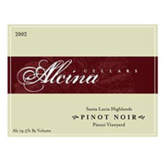 Label shot for 2002 Alcina Pisoni Pinot Noir