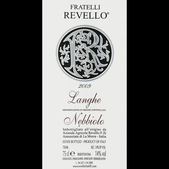 Label shot for 2009 Revello Langhe Nebbiolo