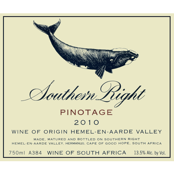 Label shot for 2010 Southern Right Pinotage