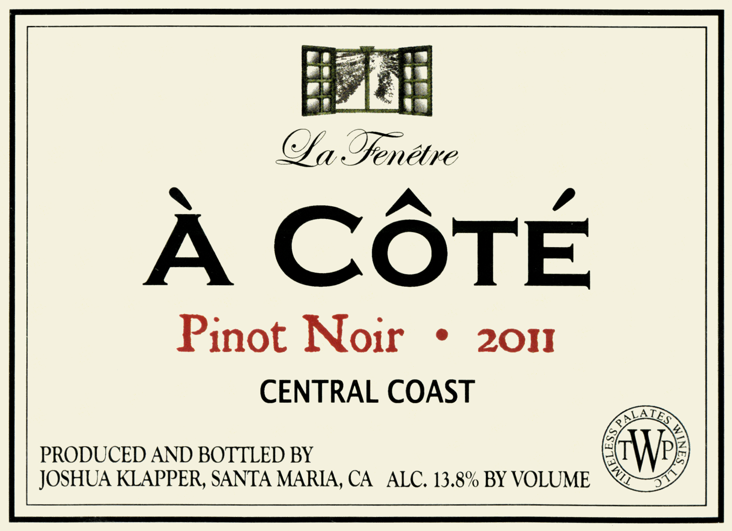 2011 la fenetre a cote pinot noir central coast wine library for La fenetre winery