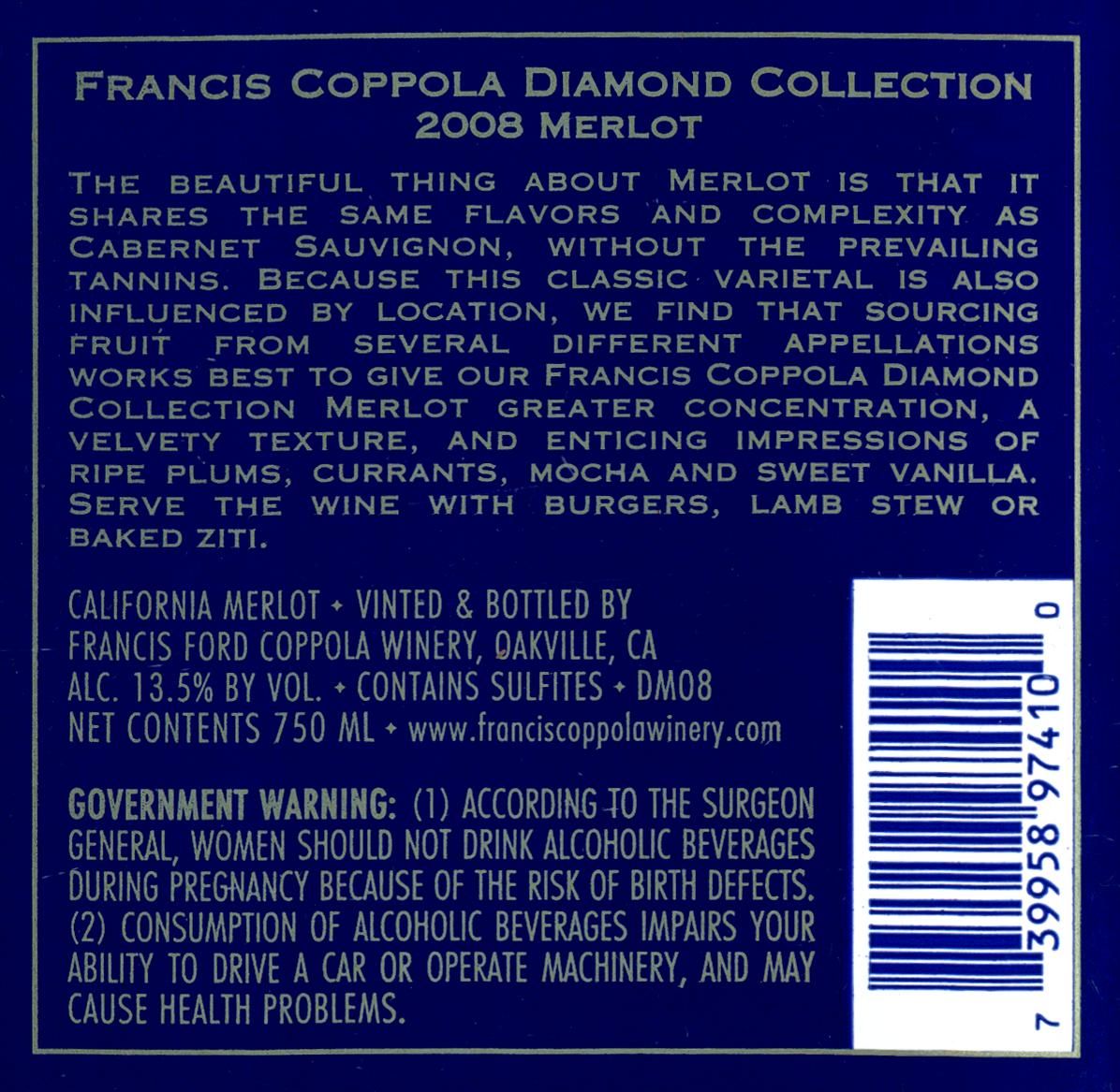 It's just a picture of Influential Coppola Claret 2009 Black Label