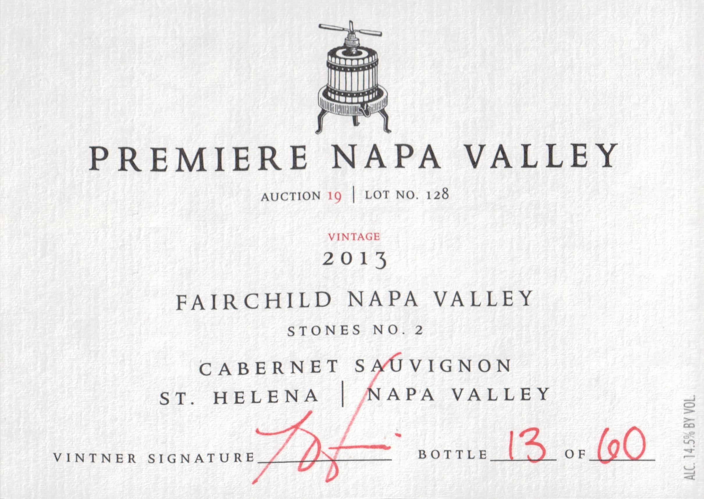 Premiere Napa Valley Fairchild Cabernet Sauvignon Stones No. 2 2013